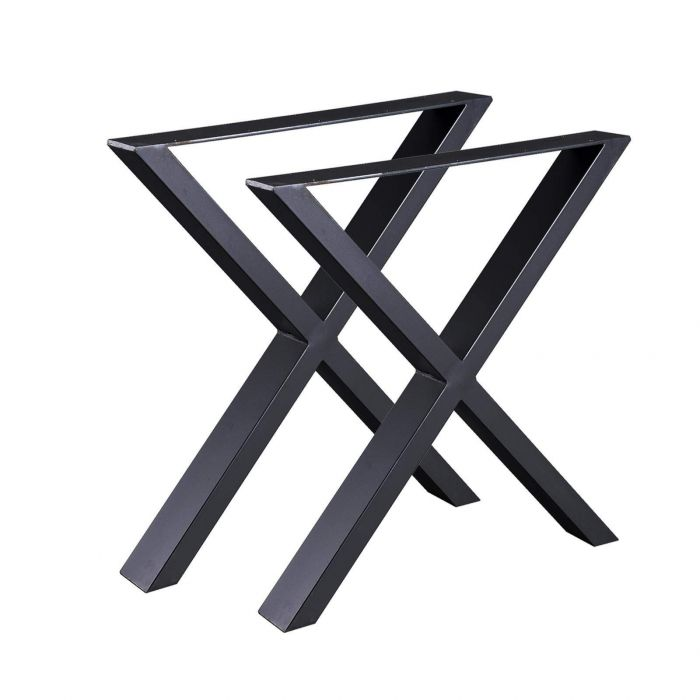 Jeu de 2 Pieds de table en acier format X noir, Pieds pour meubles, Pieds de table métal 60x72cm