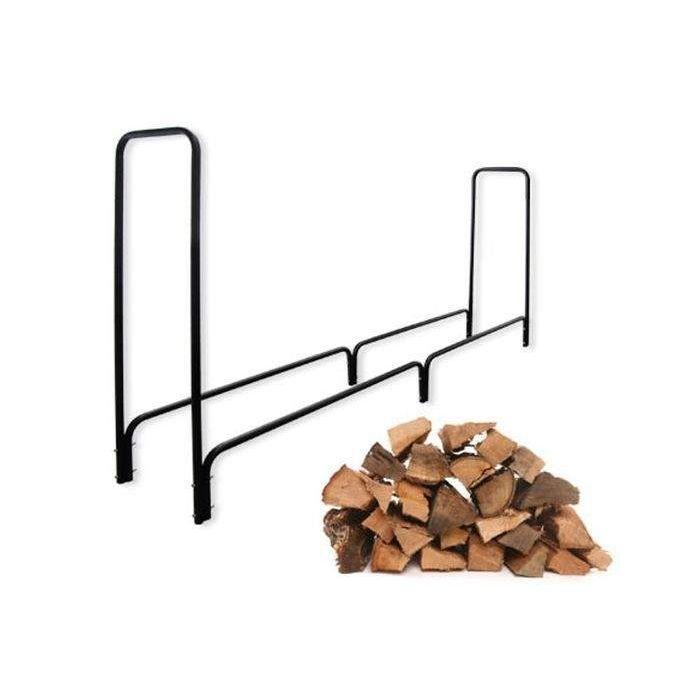 Rangement à bois en acier noir 240X36X120CM, rack pour bois de chauffage, range-bûches