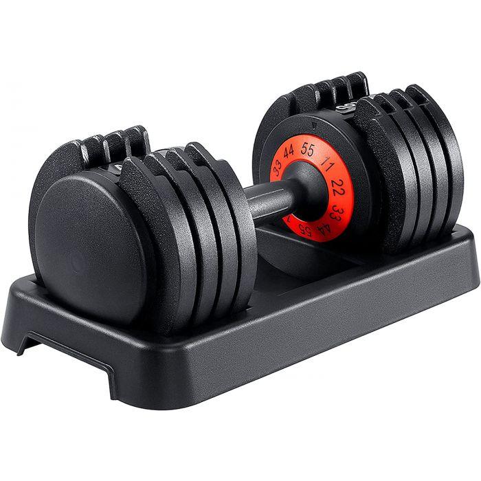 Haltère ajustable 5 à 25kg, ajustement rapide via la poignée. Support inclus.