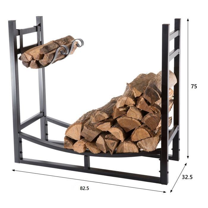 Rangement à bois en acier noir 82.5X33X75CM, rack pour bois de chauffage, range-bûches