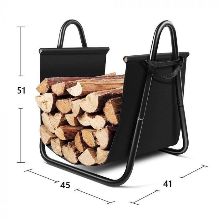 Rangement à bois en acier et textile noir 46X41X51CM, panier pour bois de chauffage, range-bûches