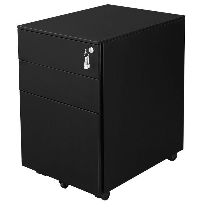 Caisson mobile à tiroirs en acier armoire de bureau chariot mobile caisson à roulettes noir