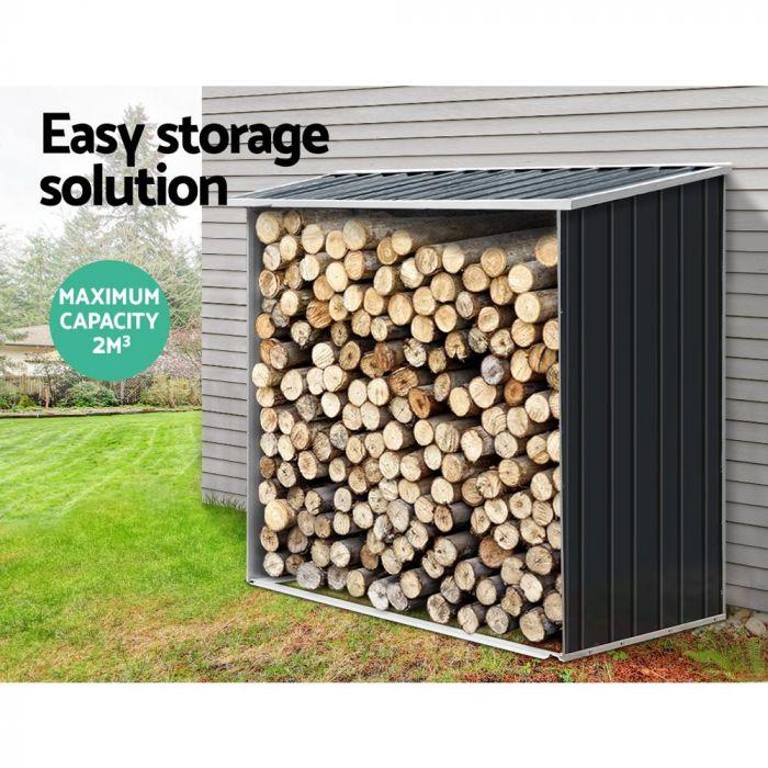 Abri pour stockage de bois 163 x 83 x 154cm, Abri buches et range buches