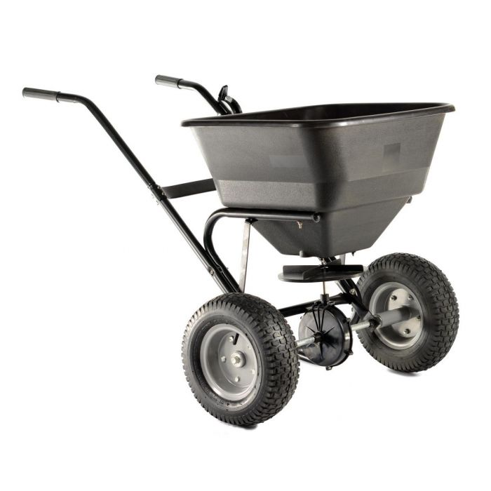 Epandeur d'engrais, semences, sable ou sel, charge jusqu'à 30KG / 45L +Pneus Air