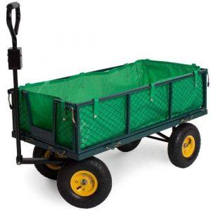 Chariot de jardin, remorque à main, avec bâche, cotés amovibles, Max 350Kg