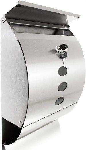 Boite aux lettres Design en acier inoxydable ovale 12x30x41cm + 2 clés