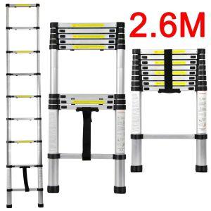 Echelle télescopique en aluminium, hauteur de 2.60m, 9 échelons